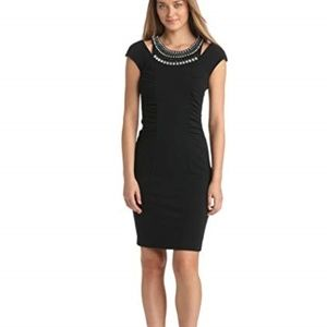 New Vince Camuto Jewel Necklace Fitted Dress Sz 4